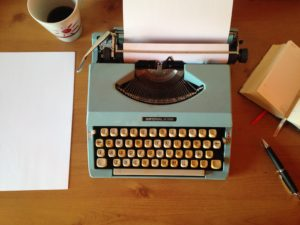 picture of a typewriter and paper